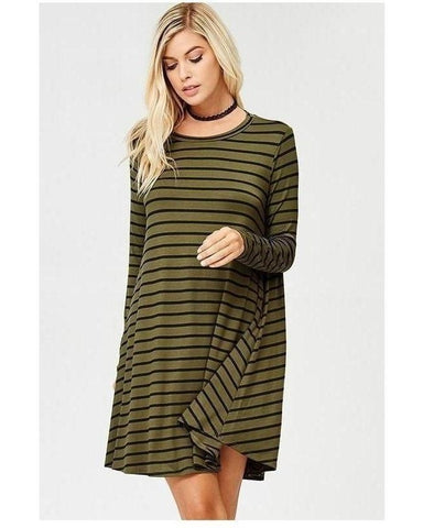 Olive & Black Jersey Long Sleeve Stripe Tunic Dress with Pockets - Essentially Elegant