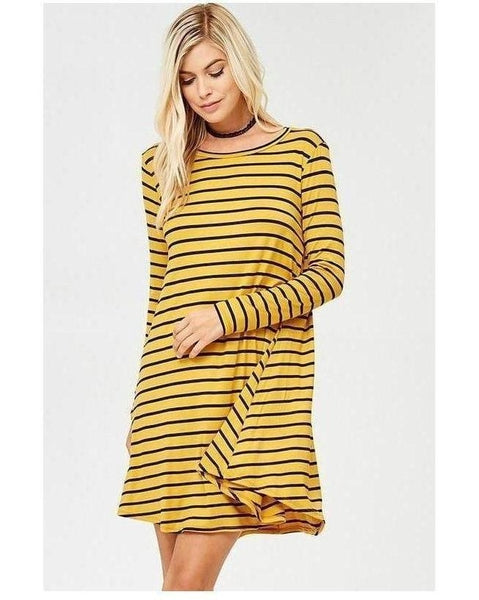 Mustard & Black Jersey Long Sleeve Stripe Tunic Dress with Pockets - Essentially Elegant