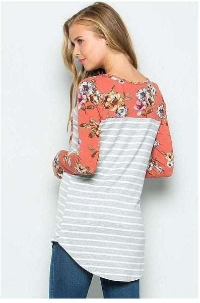 Gray & Ivory Striped Top with Floral Print and Rust Long Sleeves and Pocket Detail - Essentially Elegant
