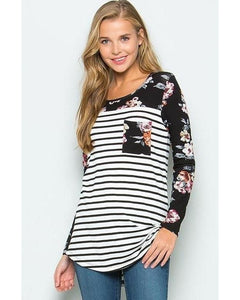 Black & Ivory Striped Top with Floral Print Black Long Sleeves and Pocket Detail - Essentially Elegant