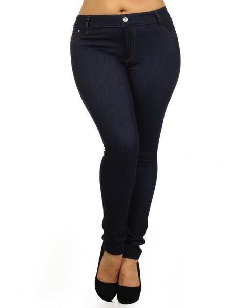 Yelete Super Stretchy Skinny Soft Knit Jeggings in Dark Blue Denim - Essentially Elegant