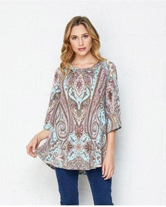 Be Beautiful Sage and Coral Print Top - Essentially Elegant