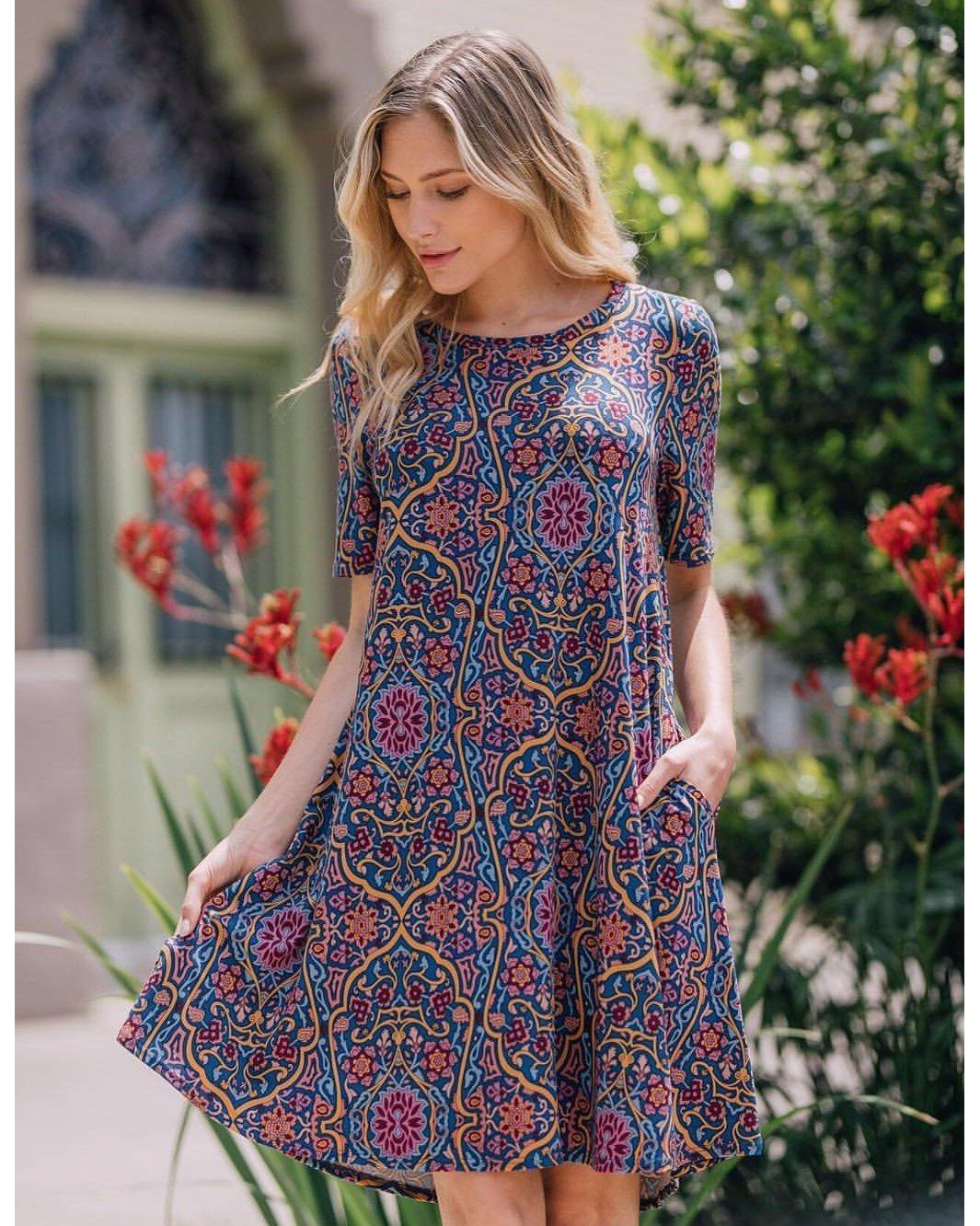 All Things Colorful Short Sleeve Print Swing Dress with Pockets - Essentially Elegant