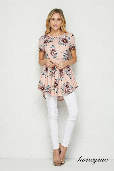 Dreaming of Spring Floral and Blush Short Sleeve Babydoll Tunic Top - Essentially Elegant