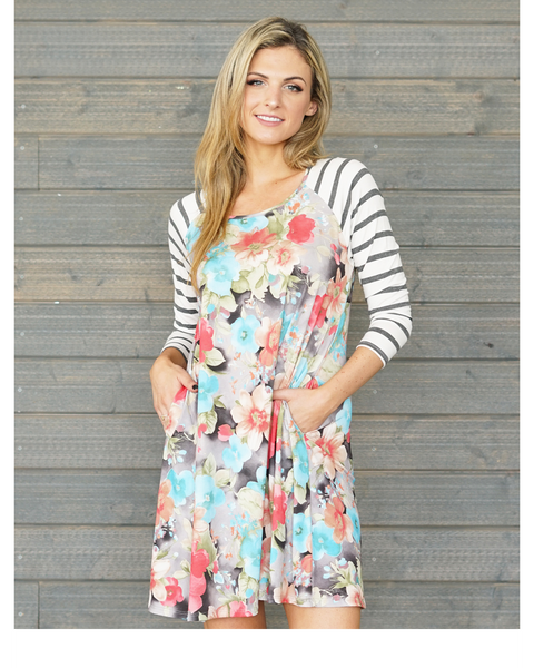 Don't Worry Spring Floral Dress with 3/4 Striped Sleeves with Pockets - Essentially Elegant