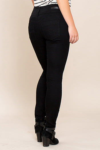 YMI - Royalty For Me Women's 3 Button Basic Skinny Jeans - Black - Essentially Elegant