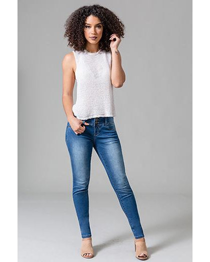YMI - Royalty For Me Women's 3 Button Basic Skinny Jeans - Medium Wash - Essentially Elegant