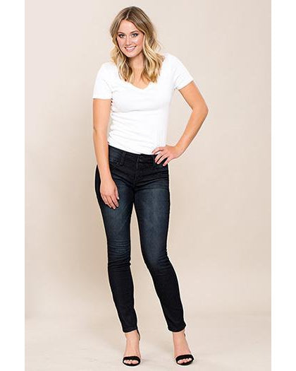 YMI - Royalty For Me Women's 3 Button Basic Skinny Jeans - Black Rinse - Essentially Elegant