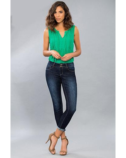 YMI - Royalty For Me Women's 2 Button Cuffed Anklet Jeans - Dark Wash - Essentially Elegant