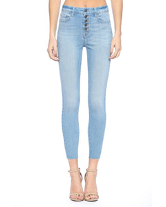 Cello High Rise Exposed Button Light Wash Skinny Jeans