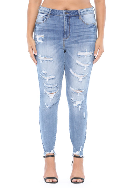 New Arrival!! Cello High Rise Frayed Hem Distressed Crop Skinny - Plus Size