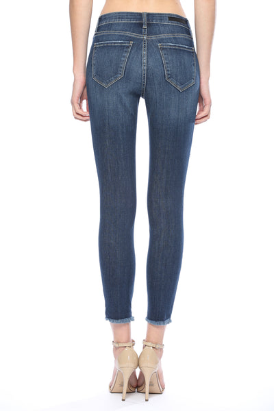 Cello Mid Rise Destroyed Cropped Skinny Jeans - Dark Denim