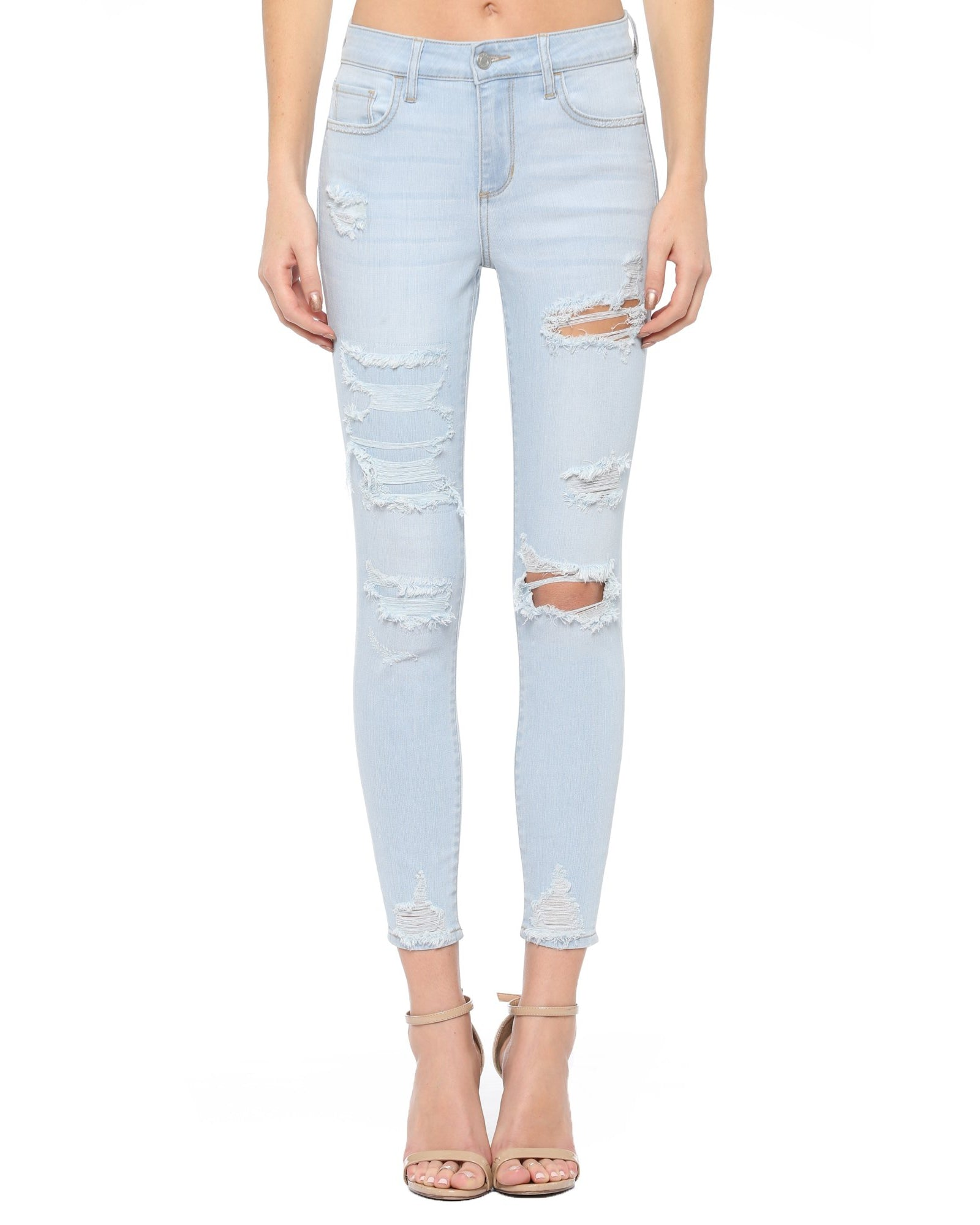 New Arrival!! Cello Mid Rise Distresses Cropped Skinny Jeans - Light Denim