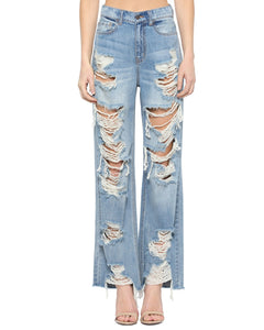 Coming Soon!! Cello High Rise Heavily Destroyed Raw Cut Hem Wide Leg Jeans