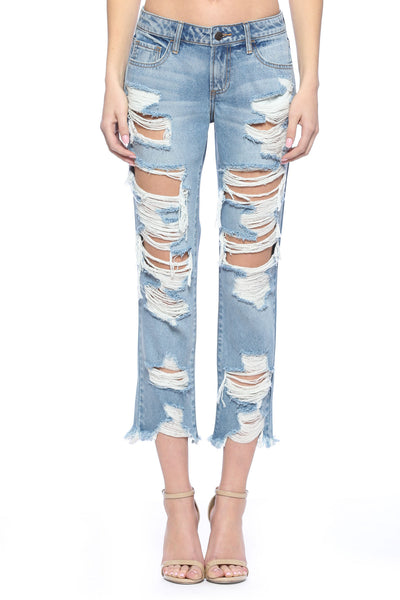 New Arrival!! Cello Mid Rise Heavily Destroyed Raw Cut Hem Boyfriend Jeans - Essentially Elegant