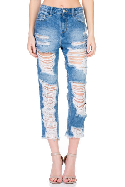 New Arrival!!! Cello High Rise All Over Distressed Straight Leg Jeans - Essentially Elegant