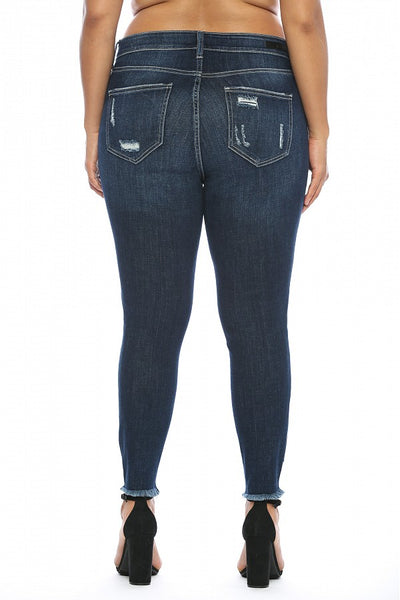 Cello Mid Rise Heavily Distressed Cropped Skinny Jeans - Dark Denim - Plus Size - Essentially Elegant