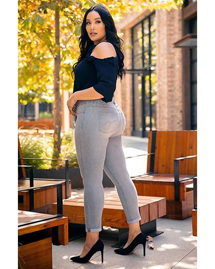 Women's Double Button Super Soft Ankle Jeans with Rolled Cuff - Plus Size - Essentially Elegant