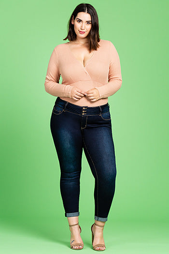 Women's Triple Button Super Soft Ankle Jeans with Rolled Cuff - Plus Size - Essentially Elegant