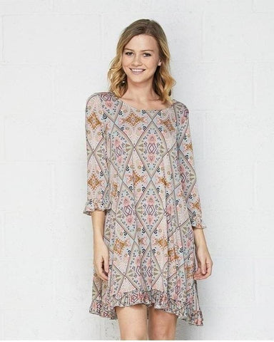 Easy Does It Print Dress with 3/4 Sleeves with Ruffle Detail - Essentially Elegant