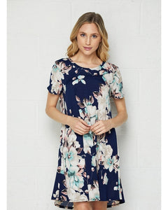 See You Soon Navy Floral Dress with Short Sleeves - Essentially Elegant