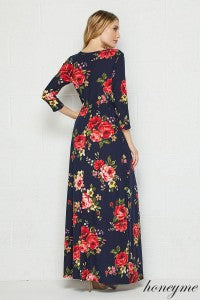 96dba6cdad ... Swept Off My Feet Red Floral and Navy Maxi Dress with 3 4 Sleeves with  ...