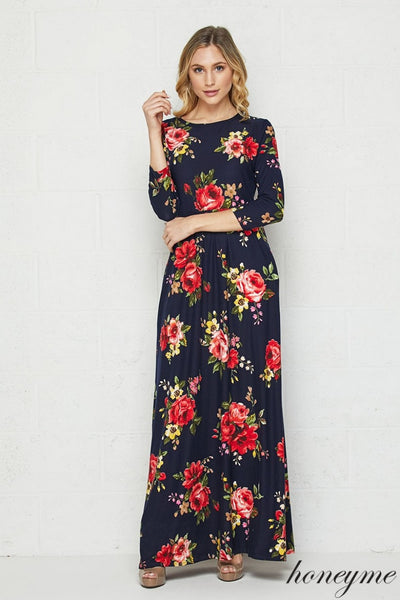 Swept Off My Feet Red Floral and Navy Maxi Dress with 3/4 Sleeves with Pockets - Essentially Elegant