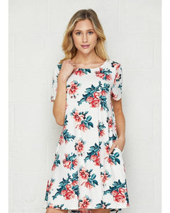 Ivory Gem Ivory and Coral Floral Print Short Sleeve Swing Dress with Pockets - Essentially Elegant