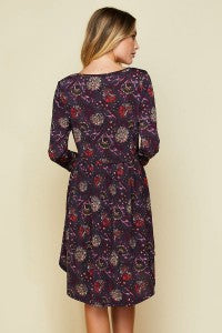Glorious Bliss Floral Print 3/4 Sleeve Babydoll Dress - Essentially Elegant