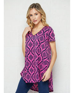 Center of Attention Fuchsia and Navy Print Top - Essentially Elegant