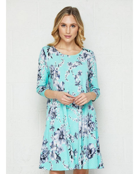 Vineyard Breeze Mint and Navy Floral Print 3/4 Sleeve Swing Dress with Pockets - Essentially Elegant
