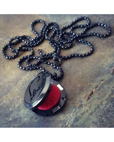 EE Exclusive **Love** 25mm Black 316L Stainless Steel Essential Oil Aromatherapy Diffuser Magnetic Locket Necklace S007 - Essentially Elegant