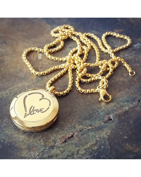 EE Exclusive **Love** 25mm Gold 316L Stainless Steel Essential Oil Aromatherapy Diffuser Magnetic Locket Necklace S006 - Essentially Elegant