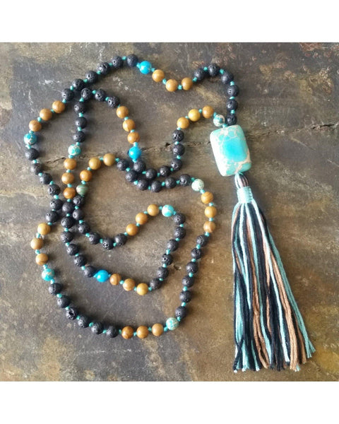 Boho~Tassel~Mala Style Essential Oil Diffuser Necklace: Mixed Jasper Semi-Precious Gemstone and Lava Rock 6mm Beads  L034 - Essentially Elegant