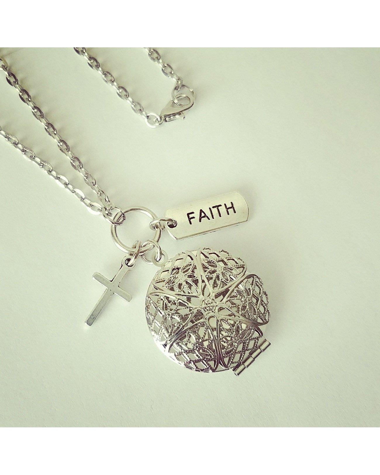 Faith Inspired Essential Oil Aromatherapy Diffuser Locket Necklace: Choose Antique Bronze, Shiny Silver, or Platinum/Matte Silver C068 - Essentially Elegant