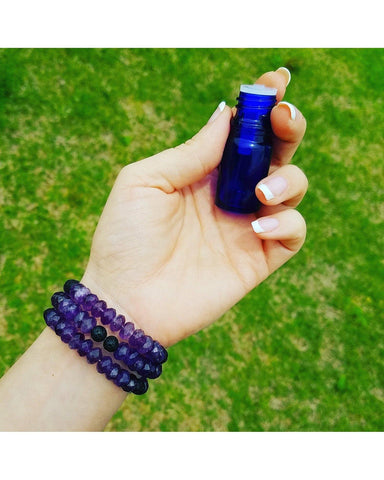 Purple Amethyst Faceted Rondelle Gemstone and Lava Rock Essential Oil Aromatherapy Diffuser Wrap Style Bracelet P023 - Essentially Elegant