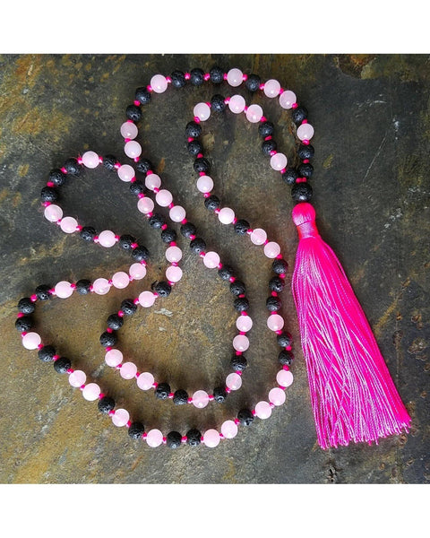 Boho~Tassel~Mala~Yoga Style Essential Oil Diffuser Necklace: Rose Quartz Semi-Precious Gemstone & Lava Rock 6mm Bead L038 - Essentially Elegant