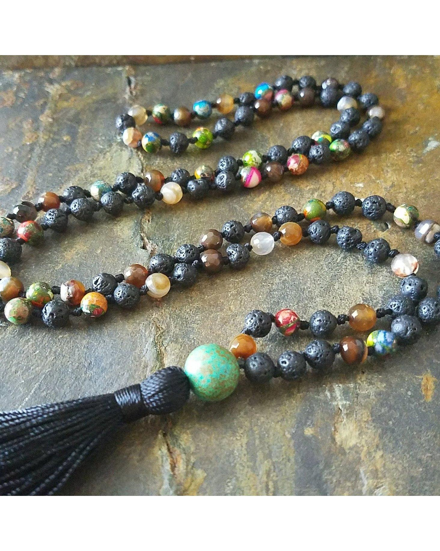 Boho~Tassel~Mala Style Essential Oil Diffuser Long Necklace: Mixed Semi-Precious Gemstone and Lava Rock 6mm Beads  L032 - Essentially Elegant