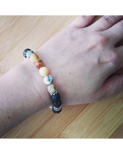 Crazy Lace Agate Semi Precious Gemstone and Lava Rock 8mm Bead Essential Oil Diffuser Stretch Bracelet P058 - Essentially Elegant