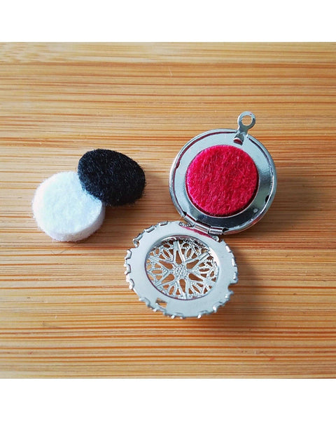 Girls/Boys/Kids Red Mini Diffuser 20mm Mini Sunburst Locket Essential Oil Aromatherapy Diffuser Locket Beaded Necklace K049 - Essentially Elegant