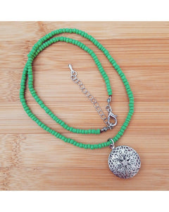 Girls/Boys/Kids Light Green Mini Diffuser 20mm Mini Sunburst Locket Essential Oil Aromatherapy Diffuser Locket Beaded Necklace K046 - Essentially Elegant