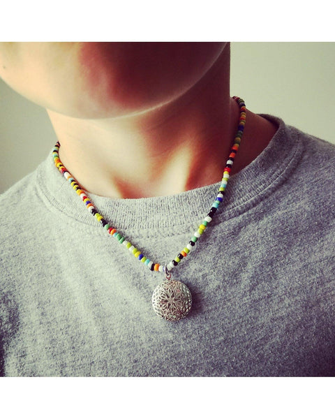 Girls/Boys/Kids Multi Colors Mini Diffuser 20mm Mini Sunburst Locket Essential Oil Aromatherapy Diffuser Locket Beaded Necklace K050 - Essentially Elegant