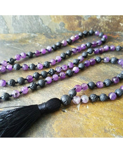 Boho~Tassel~Mala Style Essential Oil Diffuser Long Necklace: Amethyst Semi-Precious Gemstone & Lava Rock 6mm Bead L045 - Essentially Elegant