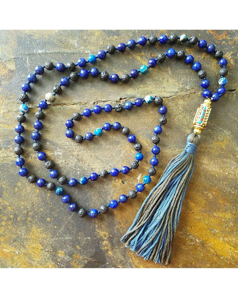Boho Style Lapis Lazuli and Jasper Semi-Precious Gemstone & Lava 6mm Bead Essential Oil Diffuser Necklace L044 - Essentially Elegant