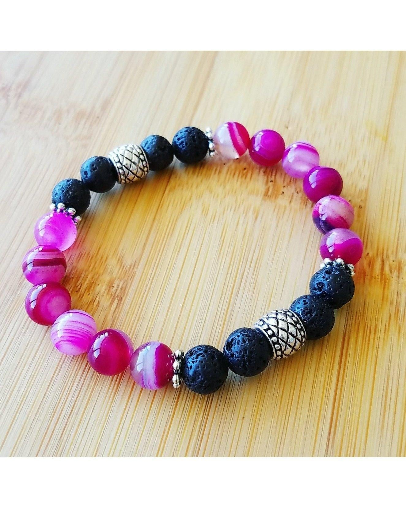 Fuchsia Banded Pink/White Agate Gemstone & Lava Rock 8mm Bead Essential Oil Aromatherapy Diffuser Stretch Bracelet P057 - Essentially Elegant