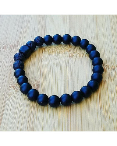 Men's Black Brazilian Agate Semi-Precious Gemstone and Lava Rock 8mm Bead Essential Oil Diffuser Stretch Bracelet J023 - Essentially Elegant
