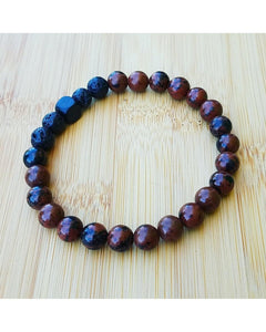Men's Mahogany Obsidian Semi-Precious Gemstone and Lava Rock 8mm Bead Essential Oil Diffuser Stretch Bracelet J024 - Essentially Elegant