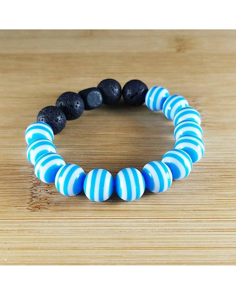 Girls/Kids/Boys Sky Blue and White Striped and Lava Rock 10mm Bead Essential Oil Aromatherapy Diffuser Stretch Bracelet K055 - Essentially Elegant
