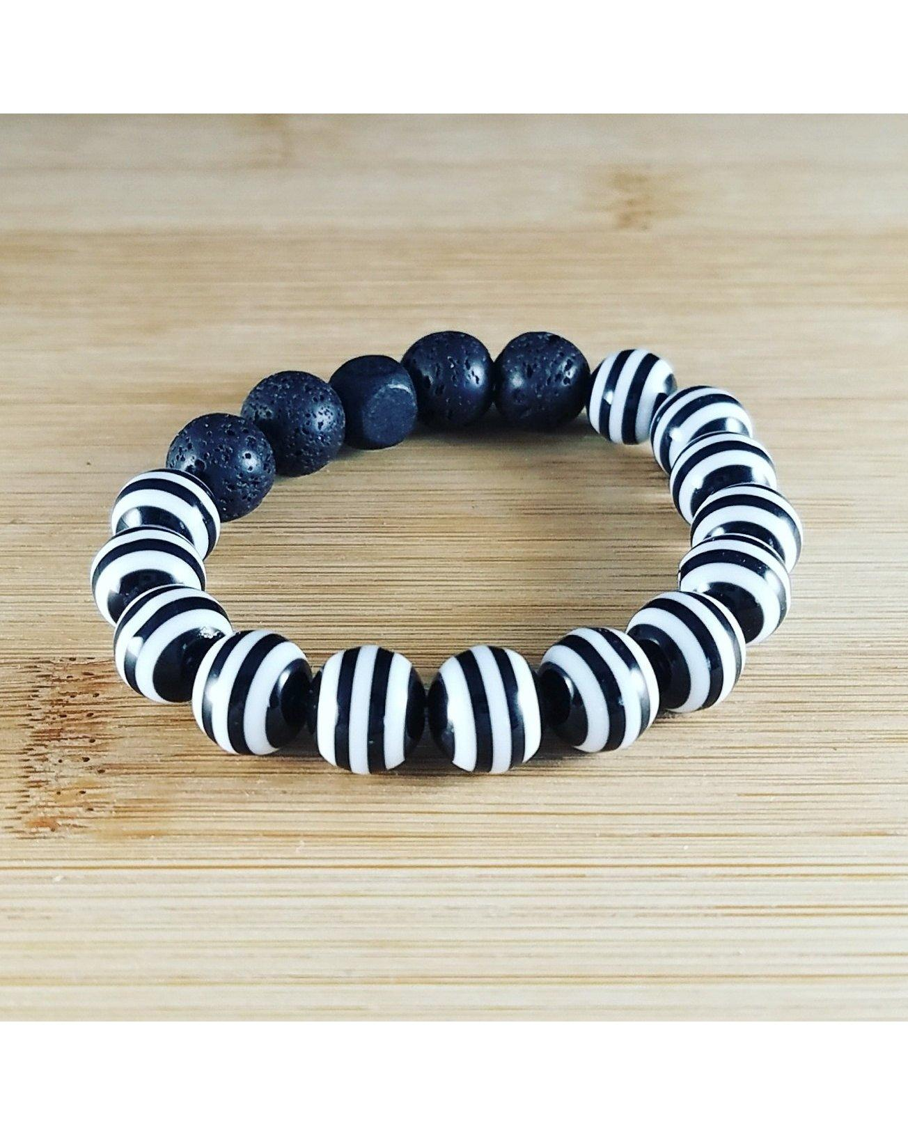 Girls/Kids/Boys Black and White Striped and Lava Rock 10mm Bead Essential Oil Aromatherapy Diffuser Stretch Bracelet K032 - Essentially Elegant