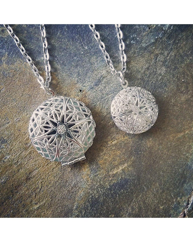 Mother Daughter Essential Oil Aromatherapy Diffuser Necklace Set: Platinum/Matte Silver Color Sunburst 27mm & 20mm Round Locket Pendant Q002 - Essentially Elegant